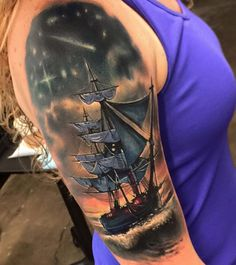 #Tattoo ship on the shoulder