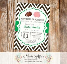 Football or Pom Pom Chevron Quarterback or Cheerleader Gender Reveal or Baby Shower party invitation - perfect for parties during football season!  Choose your colors and wording.