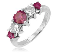 $19.99 - Ruby and White Sapphire 5 Heart Shaped Stones Sterling Silver Ring