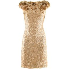 Jenny Packham Gold Sequin Dress (€2.190) ❤ liked on Polyvore featuring dresses, vestidos, short dresses, gold, short sequin dress, beige sequin dress, gold mini dress, gold cocktail dress and sequin cocktail dresses