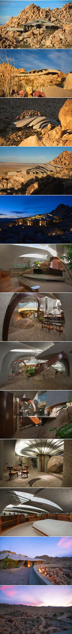 Had Imperial stormtroopers decided to makeover Uncle Owen's Tatooine home, instead of evicting him and his old lady in the harshest way possible, Luke Skywalker might have still been chilling in a home like this, the Desert House by architect Kendrick Bangs Kellogg. Just a stone's throw from Joshua Tree National Park, the Desert House stuns with its array of cast-concrete slabs that cover the home in a way that's both ancient and futuristic all at once.