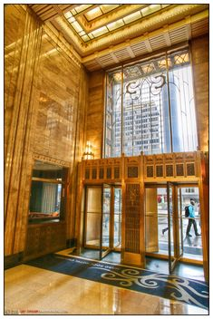 lobby, Carbide & Carbon building, Chicago, IL ~ built c. 1929, converted in 2004 into the Hard Rock Hotel. The lobby features art deco bronzework and black Belgian marble.