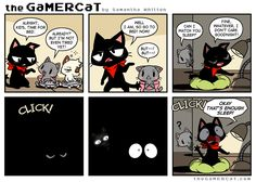 GaMERCaT: Is this a dream? Or is this reality? Video Games Funny, Funny Games, Funny Webcomics, Gamer Cat, Planet Comics, Comic Art, Comic Books, Funny Comic Strips, Online Comics