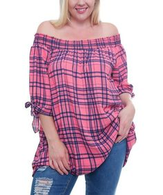Look what I found on #zulily! Coral Plaid Geometric Off-Shoulder Tunic - Plus #zulilyfinds