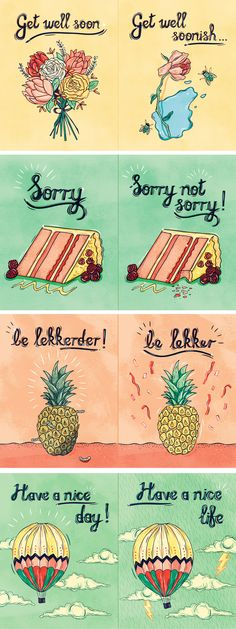 A series of #passive #aggressive #postcards I created #pineapple #flowers #cake #parody #humour #Sorry #not #sorry #get #well #soon #friendly #unfriendly #contrast