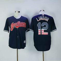 Cleveland Indians #12 Francisco Lindor Navy Blue USA Flag Fashion Jersey
