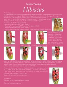 """♥ Tammy Taylor """"Hibiscus"""" Nail Design Step by Step"""