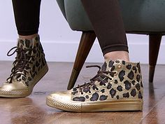 DIY Leopard Sneakers : Spray Paint gold , Let them dry , Stencil leopard print  Of do it free hand! Let it dry then  Color In! Great way to Save Money And Its Cute Too!!!