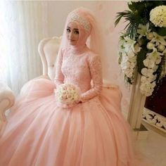 Modest Beading High Neck Muslim Wedding Dresses A Line 2016 Vintage Arab Long Sleeves Coral Tulle Bridal Gowns - http://www.onestopweddingstore.com/products/modest-beading-high-neck-muslim-wedding-dresses-a-line-2016-vintage-arab-long-sleeves-coral-tulle-bridal-gowns/