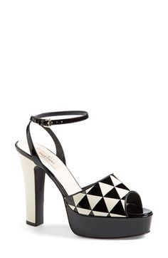 VALENTINO 'Shiny Fever' Ankle Strap Sandal.  A slender ankle strap and a chunky two-tone heel play with proportion on a standout sandal that features a bold black-and-white geometric pattern.  Made in Italy.