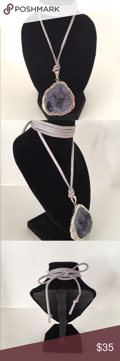 Crystal tie-up necklace Soft lavender suede leather wrap, Midnight purple crystal with silver trimming. VivaCremeDeLaCreme Jewelry Necklaces