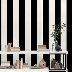 Wide Stripe Wallpaper from Simply Stripes 3 by Patton. Priced by single roll & packaged double. Striped Vinyl Wallpaper, Black Wallpaper, Wallpaper Direct, Room Wallpaper, Wide Stripes, Bold Stripes, Modern Condo, Modern Farmhouse Bedroom, Striped Walls