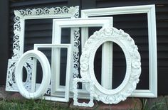 Large White ORNATE Picture Frame Set with Mirror by melissap6908, $75.00