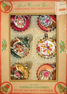 The box shows wear and does not have the cellophane covering. Vintage Christmas Balls, Glass Christmas Tree Ornaments, Tree Decorations, Christmas Decorations, Feather Tree, Old World, Romania, Old Things, Paint