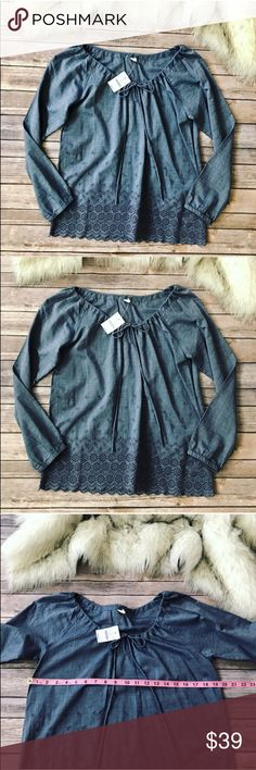 💗Gorgeous J.Crew denim shirt💗 Gorgeous J.Crew denim shirt in size small, please see pics with measurements new with tags J. Crew Tops Blouses