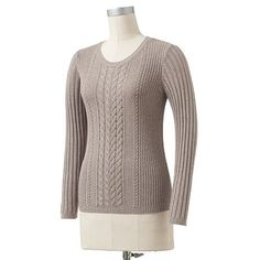 Croft and Barrow Cable-Knit Ribbed Sweater: Beige Heather or Pebble Heather
