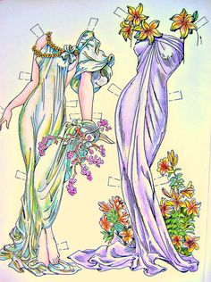 Paper Dolls in the Style of Alphonse Mucha by by TheBluScarab