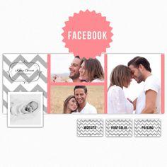 Gray Pink Chevron Facebook Cover Photo and Custom Tab Template DIY PhotoBranding Kit