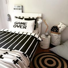 """Monochrome for a tween boy, more pictures to come of prints and beanbag! This is a temporary design as our family is moving to a new house soon, and this…"""