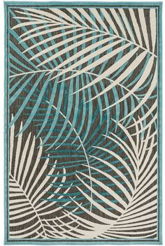 Classic tropical influence and impeccable design blend together to create these striking rugs with layers upon layers of blue, mint and gray palm imaged area rugs. Portera Blue Tropics Area Rug