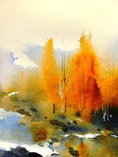 """An elegant and striking wet on wet painting. Could be done as a study of """"quick painting"""" wet on wet. painting by Tamara Orlova Watercolor Landscape Paintings, Watercolor Trees, Easy Watercolor, Abstract Landscape, Art Paintings, Watercolor Artists, Indian Paintings, Landscape Design, Abstract Watercolor Art"""