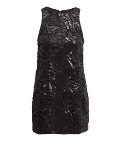 Black sleeveless dress with sequined lace & faux leather trim. | Party in H&M