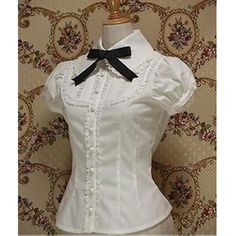 plus size summer women office tops short sleeve lace white gothic lolita blouse cosplay costume female shirts * This is an AliExpress affiliate pin. Click the VISIT button to find out more on AliExpress website Moda Lolita, Lolita Mode, Style Lolita, Gothic Lolita, Vintage Outfits, Vintage Fashion, White Shorts Womens, Mode Rock, Vintage Mode