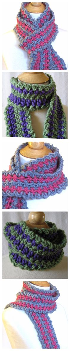 Striped Crochet Scarf with lots of texture.