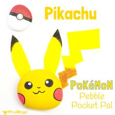 Pikachu Craft - We love this easy and cute Pokémon pebble craft. Pikachu is a pocket pal you can actually play with! This fun Pebble Pikachu is a great Pokemon DIY for Pokemon Go fans...gotta catch 'em all! Lot's more coming soon...