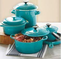 Le Creuset pots in AQUA..turquoise.. ahhh... such beauty! via Metis Linens