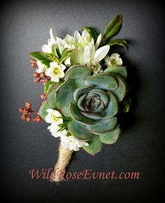 Succulent and mum boutonniere with wax flower and seeded eucalyptus with twine wrap. Wax Flowers, Wedding Flowers, Wedding Day, Groom Boutonniere, Boutonnieres, Sustainable Wedding, Seeded Eucalyptus, Local Florist, Modern Traditional