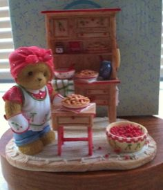 Cherished Teddies Dixie Baking Up Very Cherry Goodness Clay Bear, Polymer Project, Monkey Doll, Charlie Bears, My Teddy Bear, Boyds Bears, Cherries, Lisa, Holidays