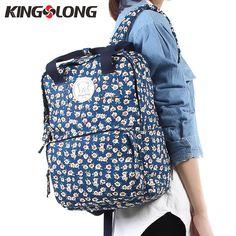 KINGSLONG Printing Cotton Backpacks Female School Backpacks for Teenage  Girls 14 Inch Laptop Backpack Bags for 446b7bbc7d887