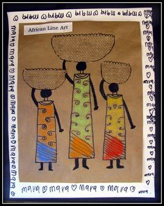 Plateau art studio african line art how to African Art For Kids, African Art Projects, African Crafts, African Children, Afrique Art, Arte Tribal, 4th Grade Art, Art Terms, Thinking Day