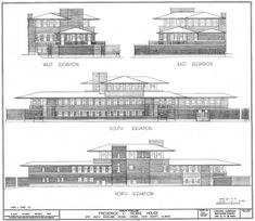 Elevations. Robie House. Prairie Style. Frank Lloyd Wright. 1910. Chicago, Illinois