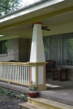 Exovations front porch remodel love the black board and for Tapered porch columns