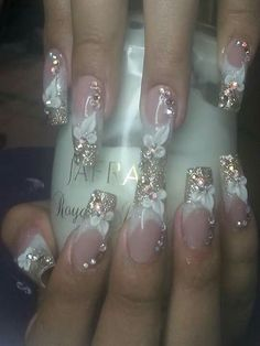 Fabulous Nails, Gorgeous Nails, Pretty Nails, Rhinestone Nails, Bling Nails, Beautiful Nail Designs, Beautiful Nail Art, Luxury Nails, Elegant Nails