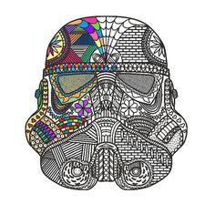 STAR WARS Zentangle Coloring Page PDF Stormtrooper por SkyMarine