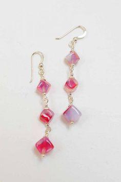 Art deco opaline cube bead earrings on 925 silver wires.  Firedrake Jewellery & Antiques.