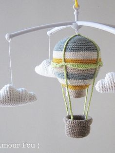 Hot Air Balloon Baby Mobile Free Crochet Pattern Baby mobiles are really cute – they come in all shapes and sizes, and are amazing decoration of the nursery. Hot Air Balloon Baby Mobile is really b… Crochet Bebe, Crochet Dolls, Free Crochet, Crochet Baby Mobiles, Crochet Mobile, Crochet Decoration, Hot Air Balloon, Baby Balloon, Crochet Projects