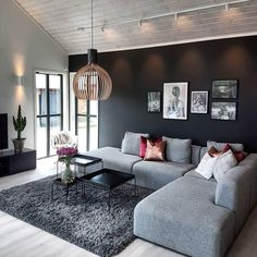 This calm Scandinavian home displays how a modern lifestyle can be combined with coziness creating a homey… Living Room Sofa, Home Living Room, Living Room Designs, Living Room Decor, Black Bedroom Design, Teen Room Decor, Scandinavian Home, Apartment Design, House Rooms