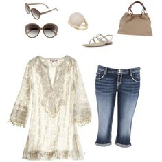 beige tunic, capris and I chose browns accessories, but can b styled with jeans, heels etc. by im-karla-with-a-k on Polyvore featuring polyvore fashion style maurices Dorothy Perkins PARENTESI Elizabeth and James