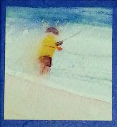 """Beach Fishing"" watercolour by Rosie Kerr. SOLD"