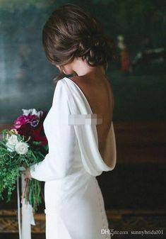 .2018 Simple White Mermaid Wedding Dresses Backless Long Sleeves Wedding Gowns Cheap Boho Sweep Train Long Bridal Dress Custom Made