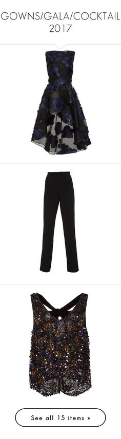 """""""GOWNS/GALA/COCKTAIL 2017"""" by ittgirl ❤ liked on Polyvore featuring tops, black, boatneck top, lela rose, bateau neck tops, slash neck top, lela rose top, pants, high rise trousers and straight leg pants"""