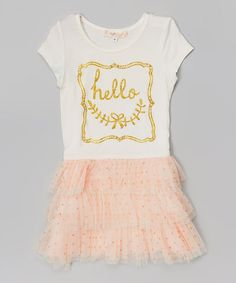 Loving this Off-White & Gold 'Hello' Tiered Dress - Infant, Toddler & Girls on #zulily! #zulilyfinds