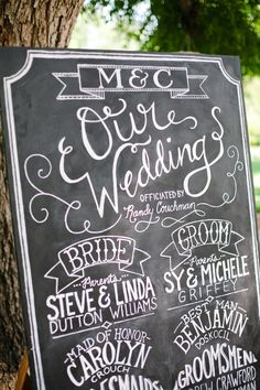 wedding chalkboard signs - our wedding party Chalkboard Wedding, Wedding Signage, Chalkboard Signs, Wedding Programs, Chalkboard Ideas, Chalkboard Paint, Wedding Wishes, Diy Wedding, Wedding Events