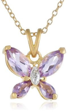 """Yellow Gold Plated Sterling Silver Amethyst and Diamond Accent Butterfly Pendant Necklace, 18"""" - http://www.sparklingheaven.com/necklaces/yellow-gold-plated-sterling-silver-amethyst-and-diamond-accent-butterfly-pendant-necklace-18/"""