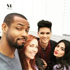 Luke, Jocelyn, Magnus, and Isabelle actors on set // SHADOWHUNTERS tv show.