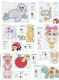 Various little animals free cross stitch patterns - free cross stitch patterns crochet knitting amigurumi Cross Stitch For Kids, Cross Stitch Boards, Cross Stitch Bookmarks, Just Cross Stitch, Cross Stitch Baby, Cross Stitch Animals, Counted Cross Stitch Patterns, Cross Stitch Designs, Cross Stitch Embroidery